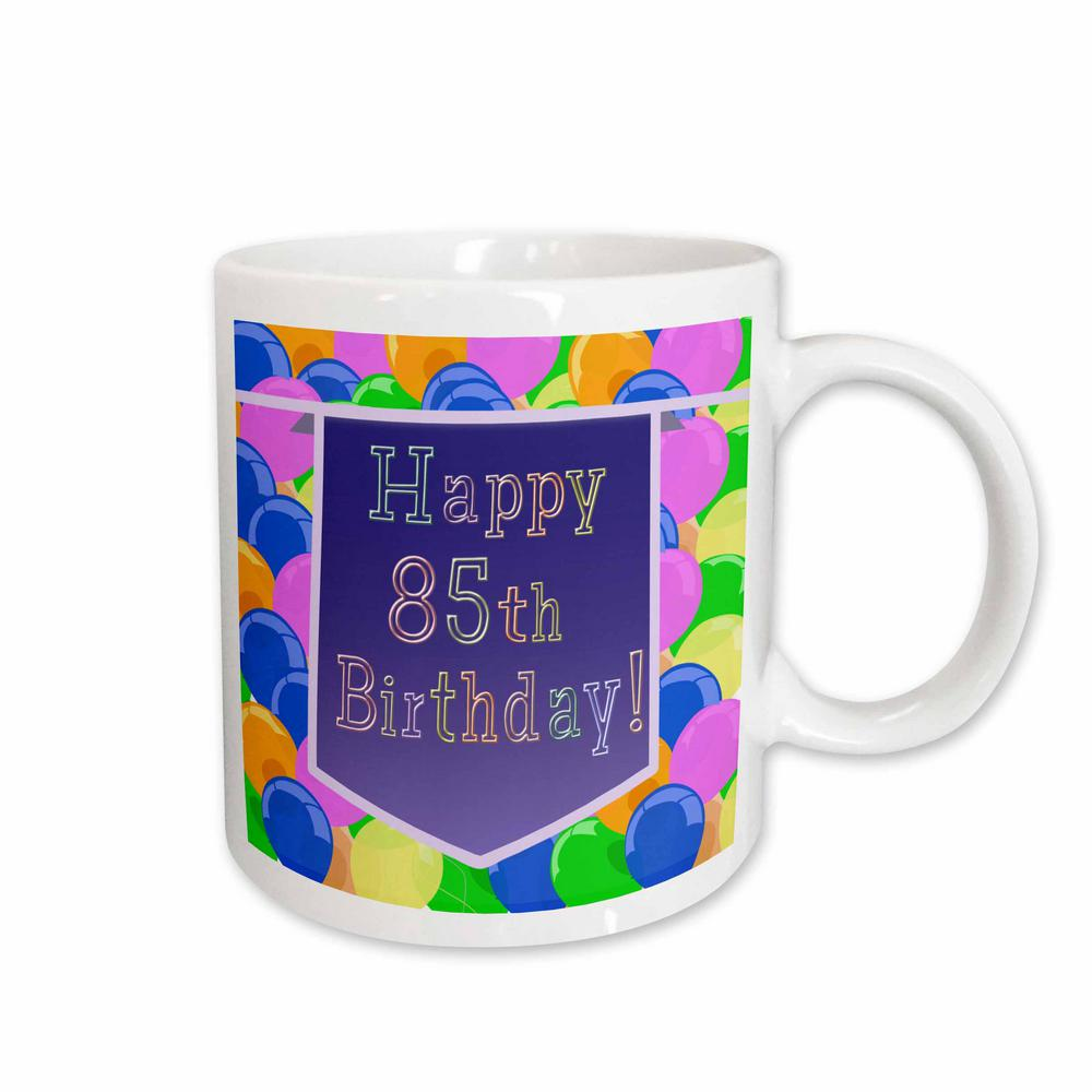 3dRose Beverly Turner Birthday Design 11 Oz White Ceramic Balloons With Purple Banner Happy 85th Mug 174850 1