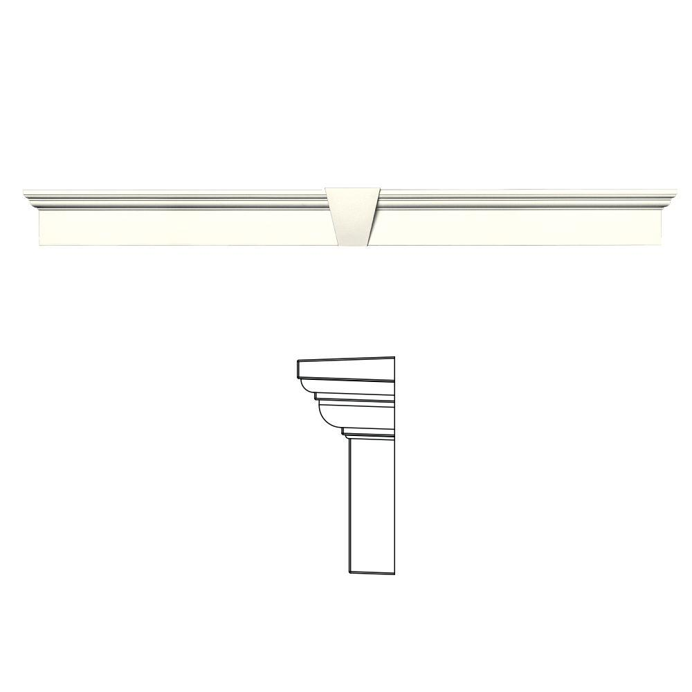 Builders Edge 6 in. x 65-5/8 in. Flat Panel Window Header with Keystone in 034 Parchment