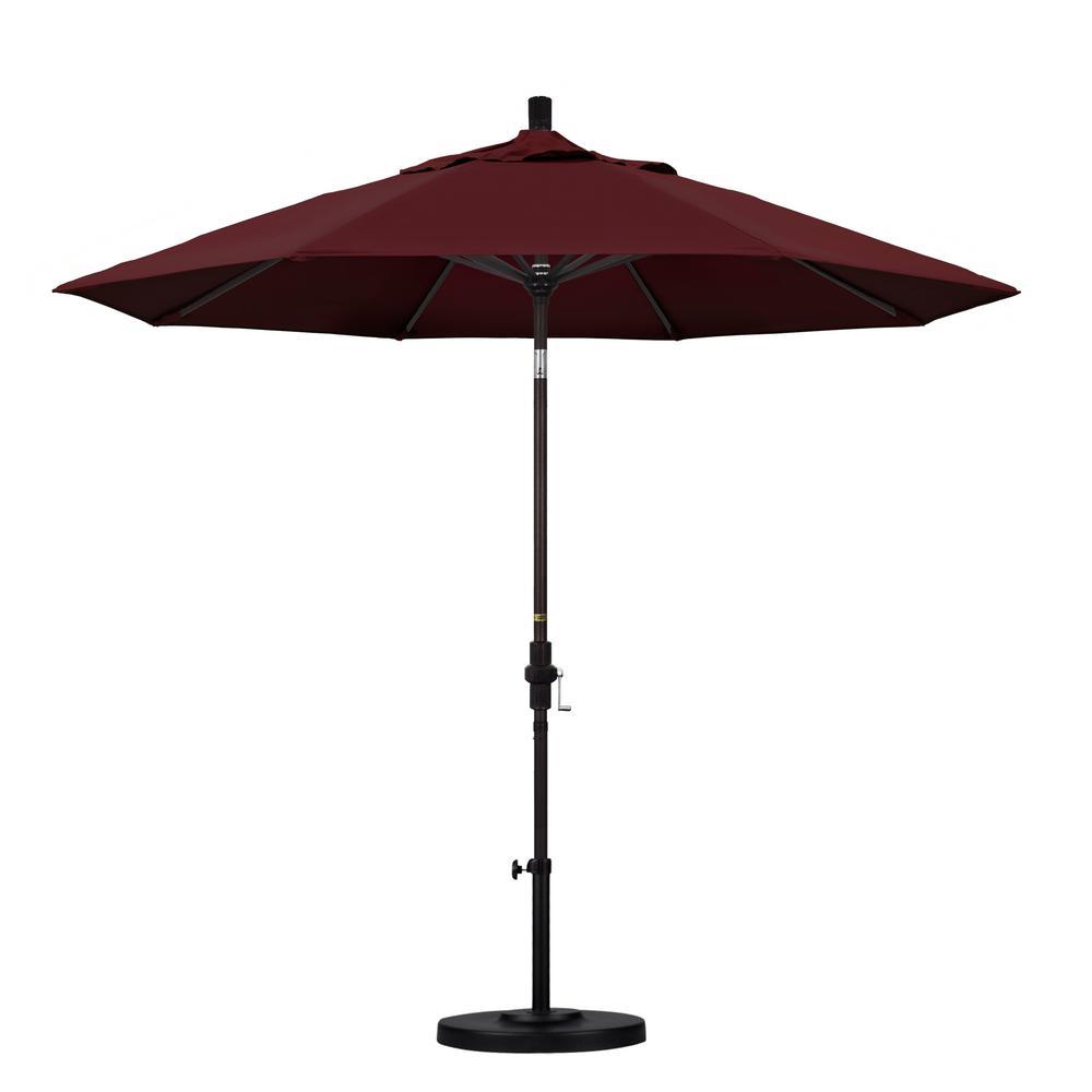 9 ft. Aluminum Collar Tilt Patio Umbrella in Burgundy Pacifica