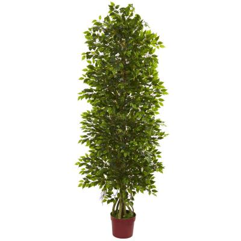 6 ft. 4-Tier UV Resistant Indoor/Outdoor Mini Ficus Artificial Tree