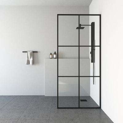 Ventana 34 in. x 74 in. Framed Fixed Shower Door in Matte Black without Handle