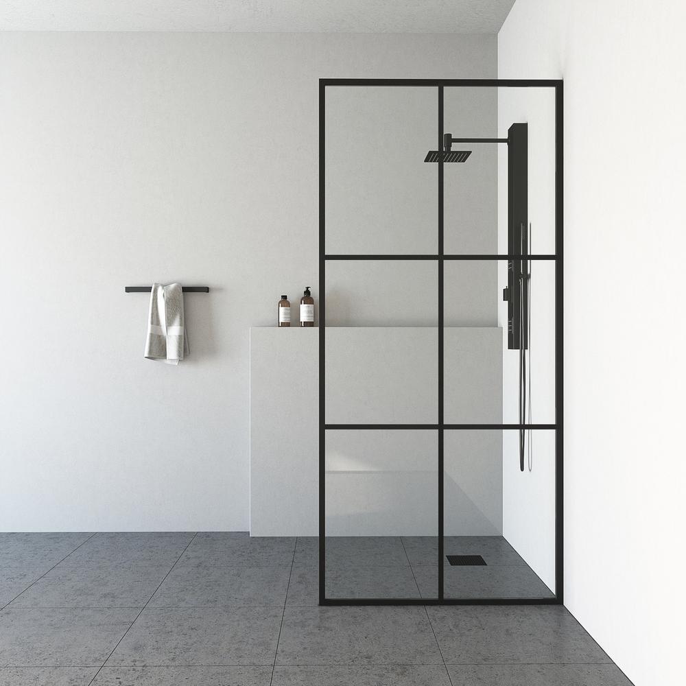 Ventana 34 in. x 74 in. Framed Fixed Shower Door in Matte Black without Handle