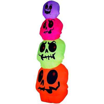 32.68 in. W x 32.68 in. D x 96.06 in. H Inflatable Neon Skulls Stack