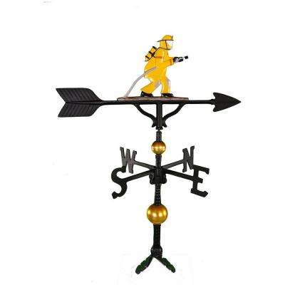32 in. Deluxe Black Fireman Weathervane