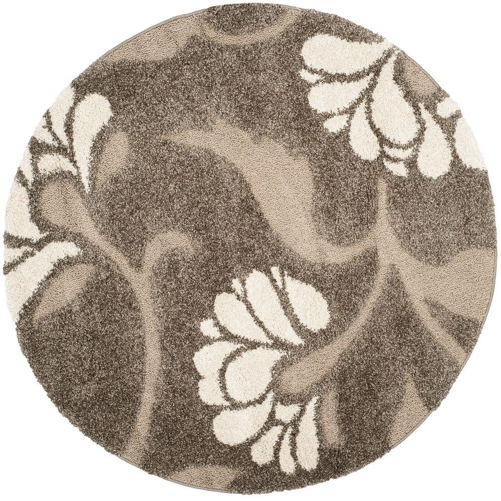 Safavieh Florida Shag Smoke/Beige 4 Ft. X 4 Ft. Round Area Rug SG459 7913 4R    The Home Depot