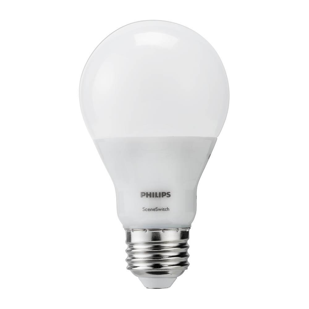 Philips 60-Watt Equivalent A19 SceneSwitch LED Light Bulb Soft White (2700K)/Amber (2500K)/ Warm Glow (2200K)