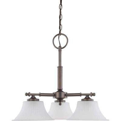 3-Light Aged Pewter Dinette Fixture with Frosted Etched Glass Shade