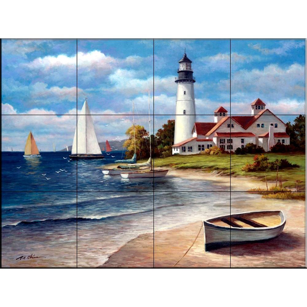 Sailing the Safe Harbor 24 in. x 18 in. Ceramic Mural