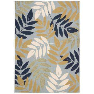 Caribbean Blue 3 ft. 11 in. x 5 ft. 11 in. Indoor/Outdoor Area Rug