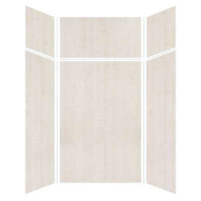 Expressions 48 in. x 48 in. x 96 in. 4-Piece Easy Up Adhesive Alcove Shower Wall Surround in Bleached Oak