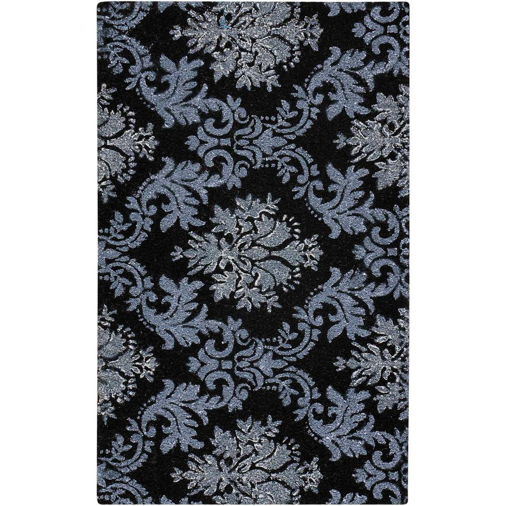Glitter Damask Black/Silver 2 ft. x 3 ft. 3 in. Accent