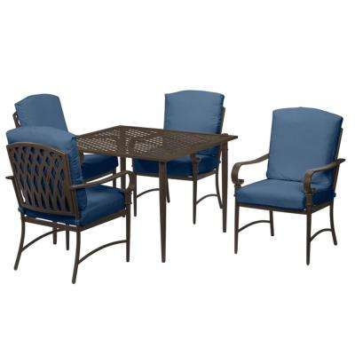 Oak Cliff 5-Piece Brown Steel Outdoor Patio Dining Set with CushionGuard Sky Blue Cushions