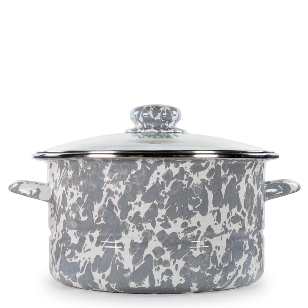 Golden Rabbit Grey Swirl 6 qt. Enamelware Stock Pot with Lid