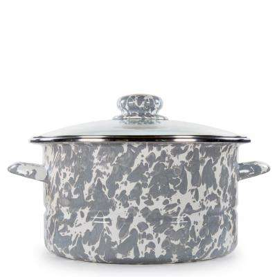 Grey Swirl 6 qt. Enamelware Stock Pot with Lid