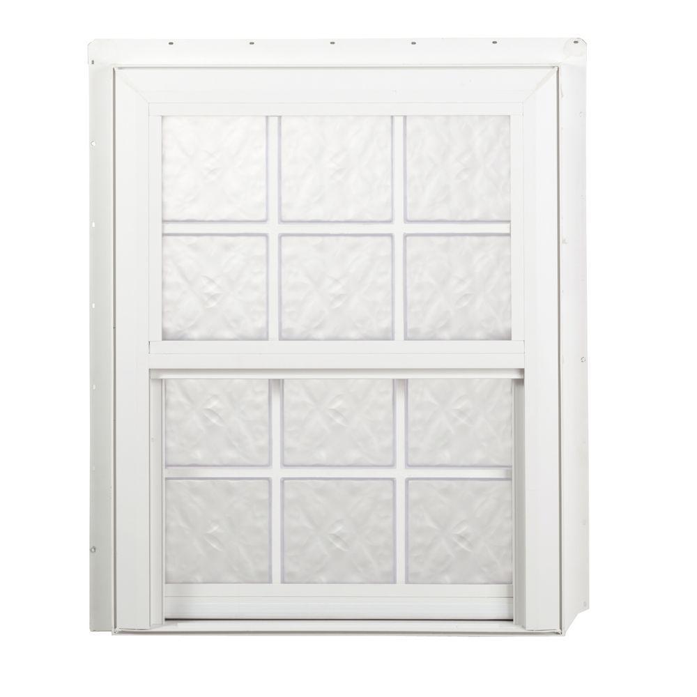 Hy-Lite 27.625 in. x 39.25 in. Glacier Pattern 6 in. Acyrlic Block White Vinyl Fin Single Hung Window-DISCONTINUED