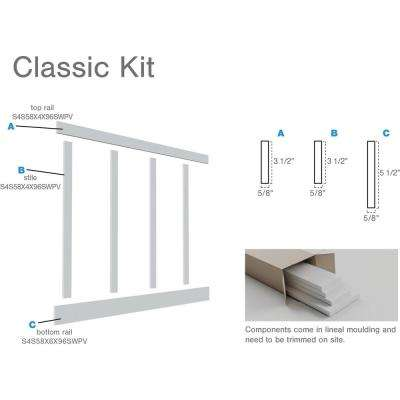 """5/8 in. X 96 in. X 56 in. Expanded Cellular PVC Classic Shaker Moulding Kit (for heights up to 56""""H)"""