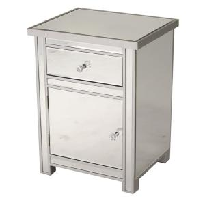 Shelly Embled 19 29x19 29x15 75 In Accent Storage Cabinet With A Mirrored Gl Drawer And Door Silver Wood