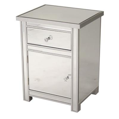 Shelly Assembled 19.29x19.29x15.75 in. Accent Storage Cabinet with a Mirrored Glass Drawer and Door in Silver Wood