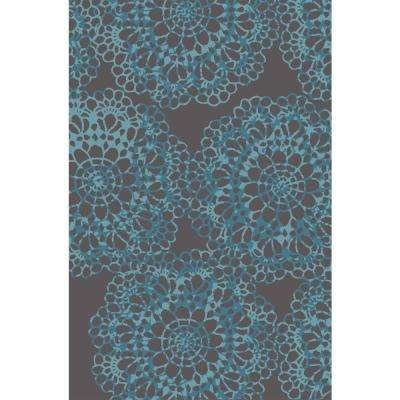 Adaline Collection Lace Blue 3 ft. 3 in. x 5 ft. Non-Skid Soft Anti-Bacterial Area Rug