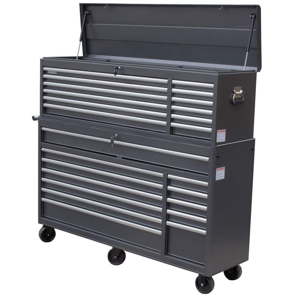 WEN 66 in. 24-Drawer Tool Chest and Cabinet Combo, Gray-77066 ...