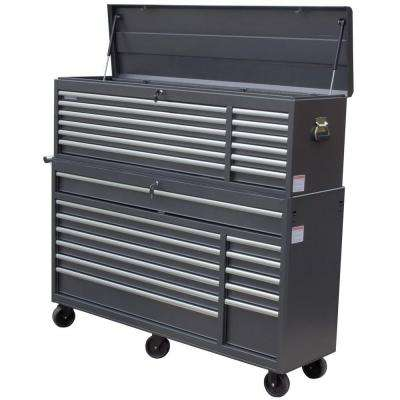 66 in. 24-Drawer Tool Chest and Cabinet Combo, Gray