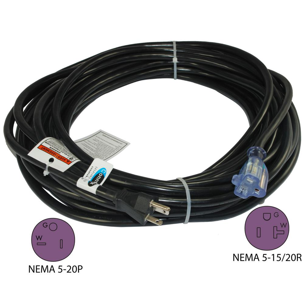 Conntek 50 ft. 12/3 20 Amp SJTW NEMA 5-20 Indoor/Outdoor Lighted End ...