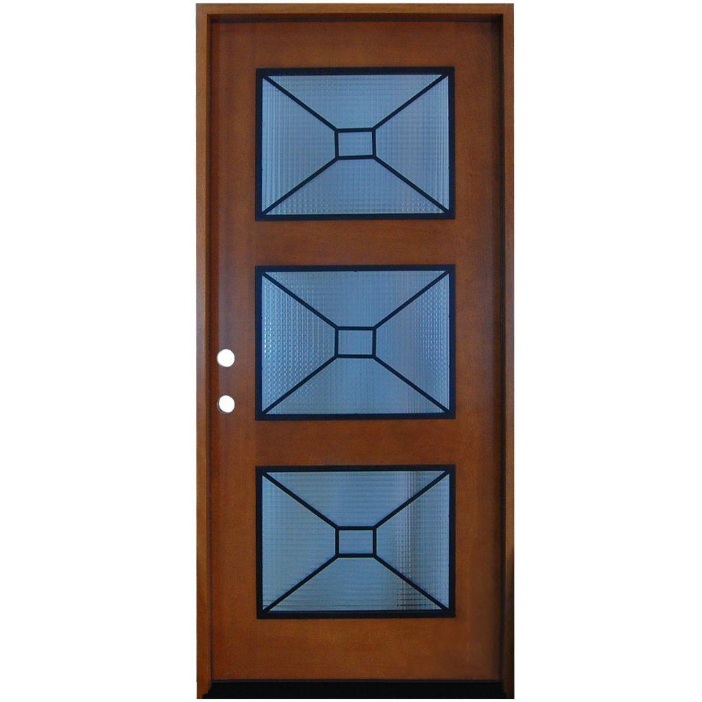 front entry doors with glass. 36 in  x 80 Modern Iron Grille 3 Lite Stained Doors With Glass Wood The Home Depot
