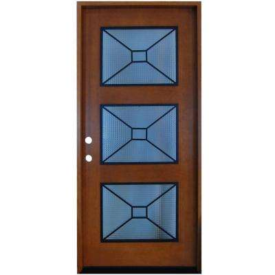 36 in. x 80 in. Modern Iron Grille 3 Lite Stained Mahogany Wood Prehung Front Door