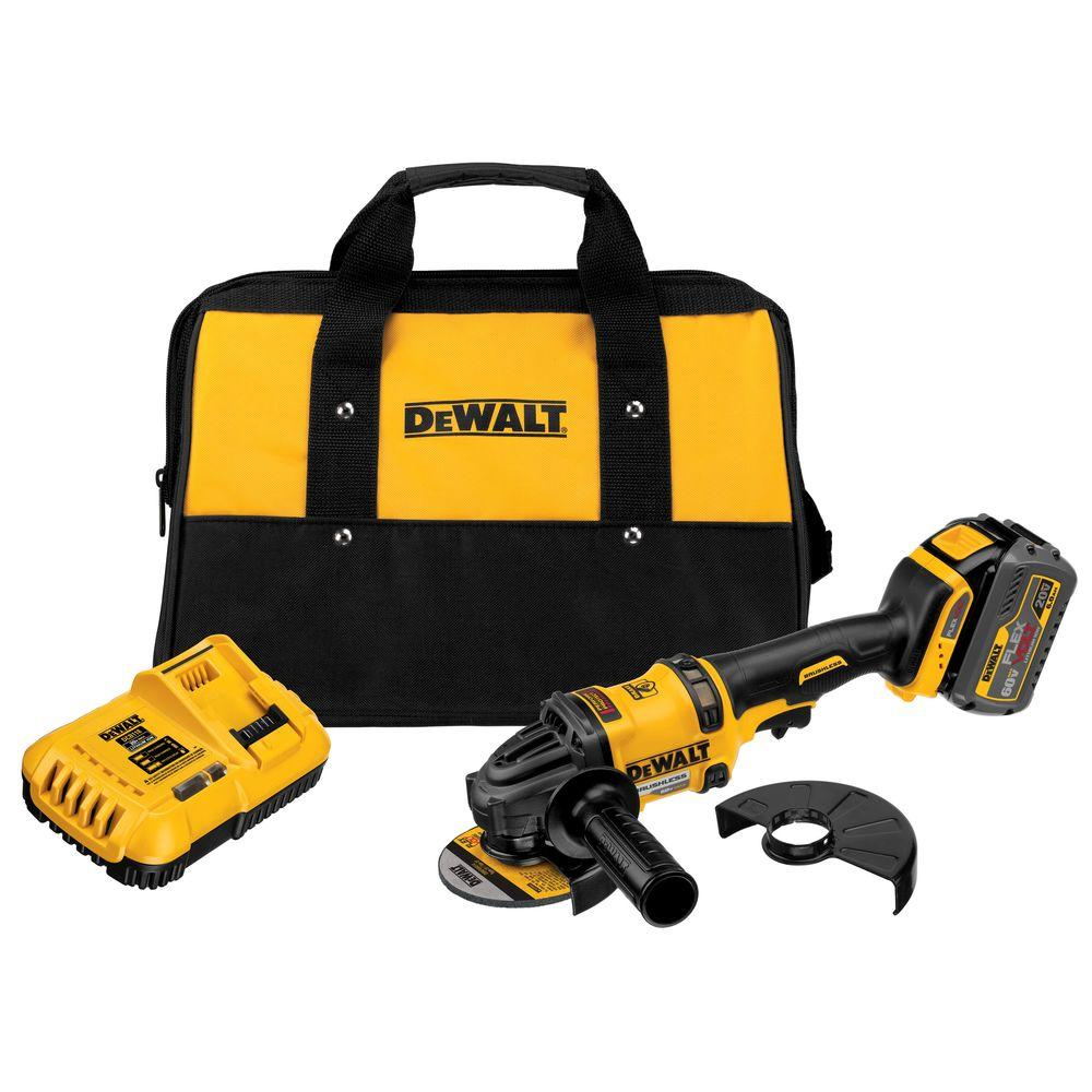 Dewalt Flexvolt 60 Volt Max Lithium Ion Cordless 4 1/2 In. Angle Grinder With Battery 6ah, Charger And Contractor Bag