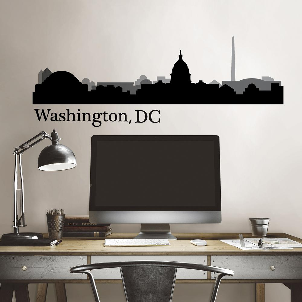 Wall Pops Washington, DC Black Cityscape Wall Art Kit This Washington DC skyline wall decal is perfect for politics lovers. The historic city is printed in shades of black and grey for a modern style. Washington, DC Cityscape Wall Art Kit contains 5-pieces on 1 sheet that measure 17.5 in. x 24 in.