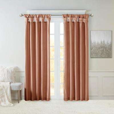 Natalie Spice 50 in. x 108 in. Twist Tab Lined Window Curtain