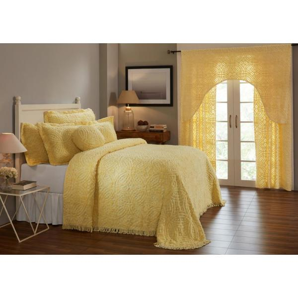 Double Wedding Ring Collection & Design Yellow Twin 100% Cotton Tufted Unique Luxurious Soft Plush Chenille Bedspread