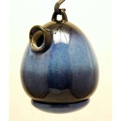 9 in. Blue Ceramic Egg Shape Bird House Cobalt