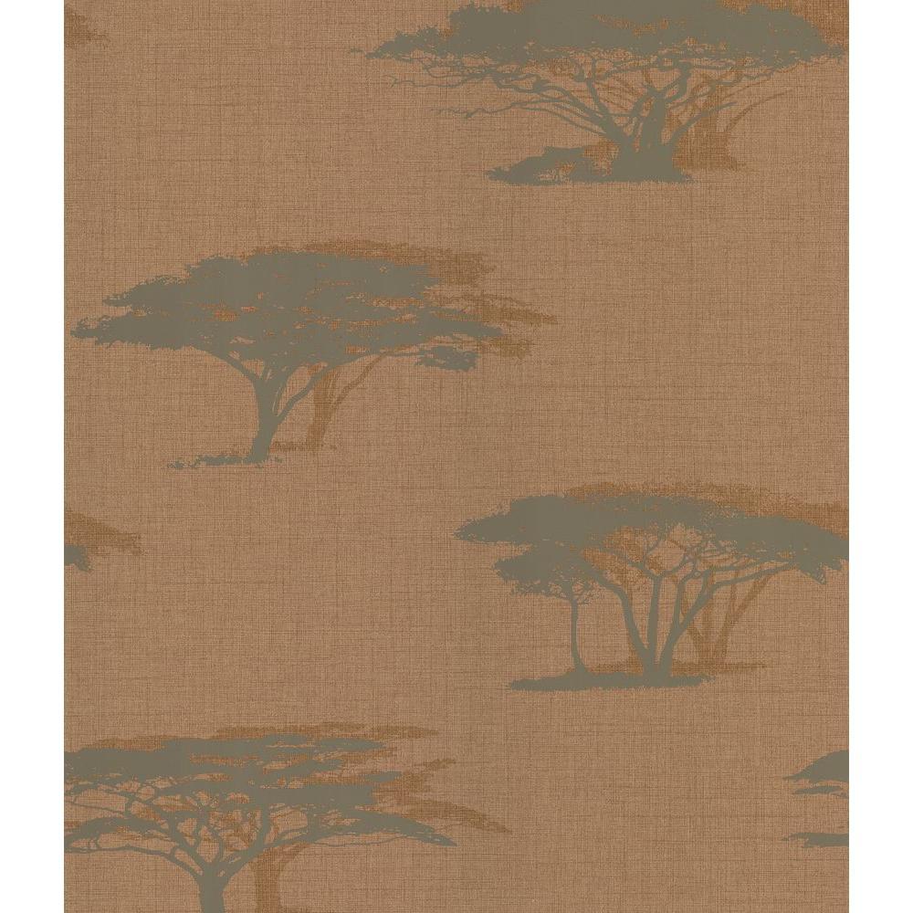 Copper Serengeti Tree Wallpaper Sample