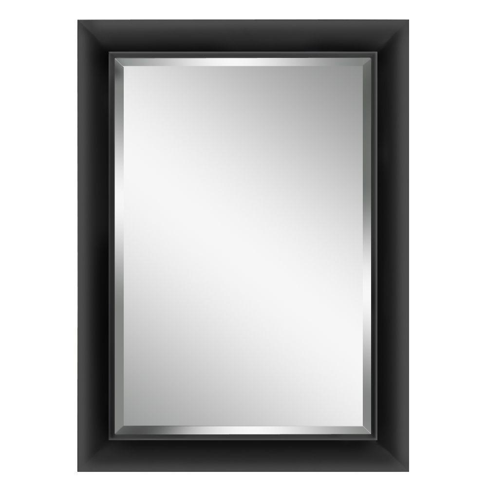 Glacier Bay 34-1/2 in. L x 28-1/2 in. W Contemporary Black Framed Mirror