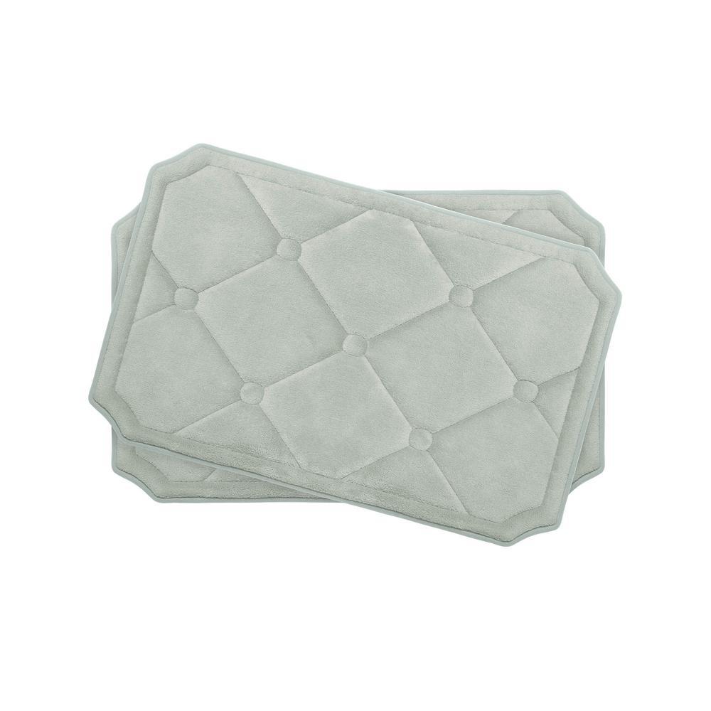 Gertie Light Gray 17 in. x 24 in. Memory Foam 2-Piece Bath Mat Set