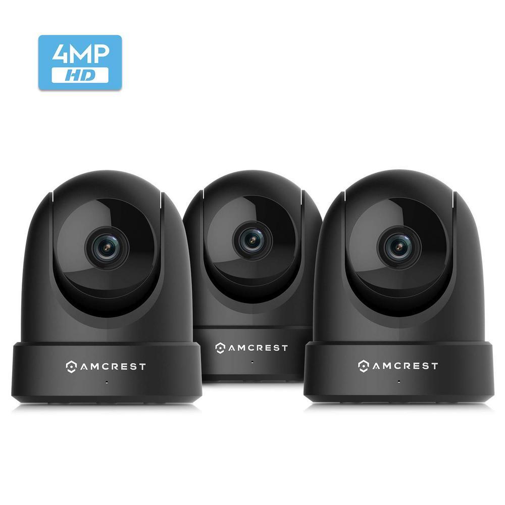 4MP UltraHD Indoor Wi-Fi Camera Security IP Camera Pan/Tilt, Black (3-Pack)