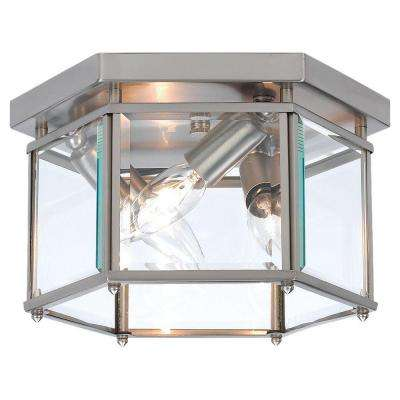 Bretton 10 in. W 3-Light Brushed Nickel Flushmount with Clear Beveled Glass