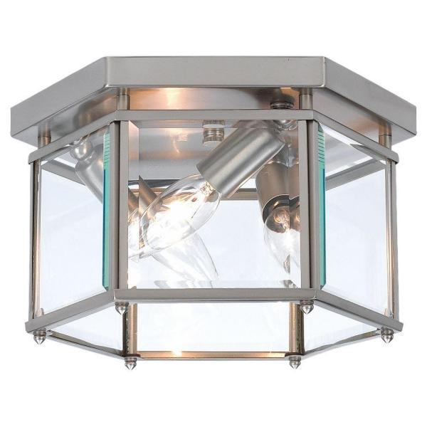 Bretton 10 in. W 3-Light Brushed Nickel Flush Mount with Clear Beveled Glass