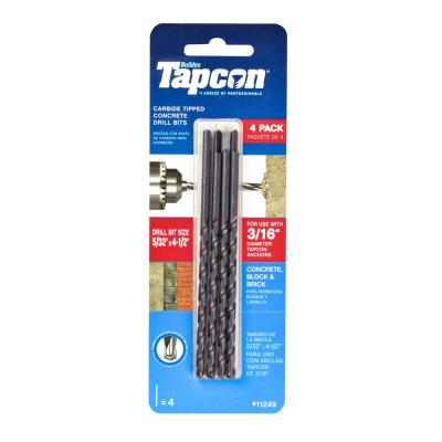5/32 in. x 4-1/2 in. Steel Carbide Tip Masonry Drill Bit Set (4-Pack)