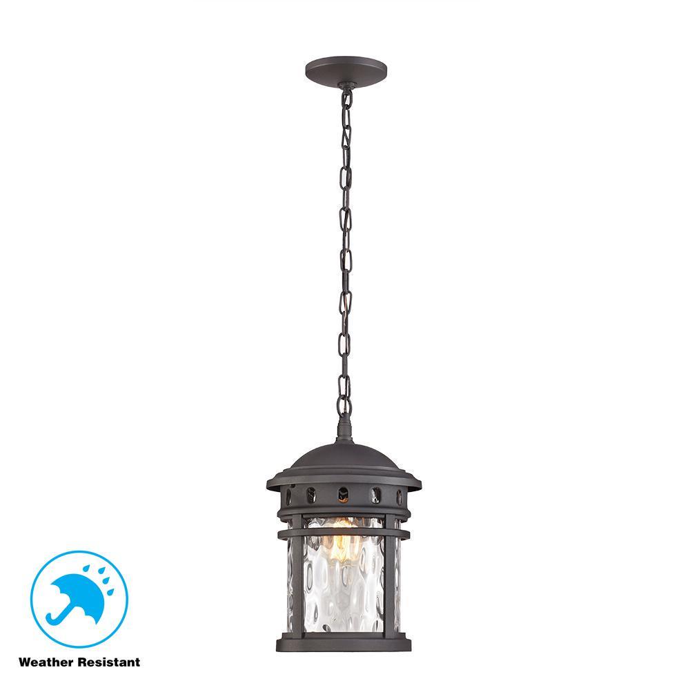 Pendant Lights Home Depot: Home Decorators Collection 1-Light Black Outdoor Pendant