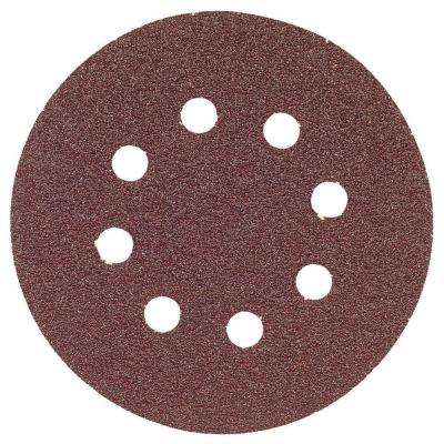 5 in. 8-Hole Red 60-Grit Hook and Loop Sanding Disc (25-Pack)