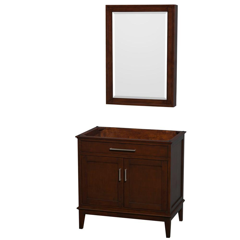 Hatton 35 in. Vanity Cabinet with Mirror Medicine Cabinet in Dark