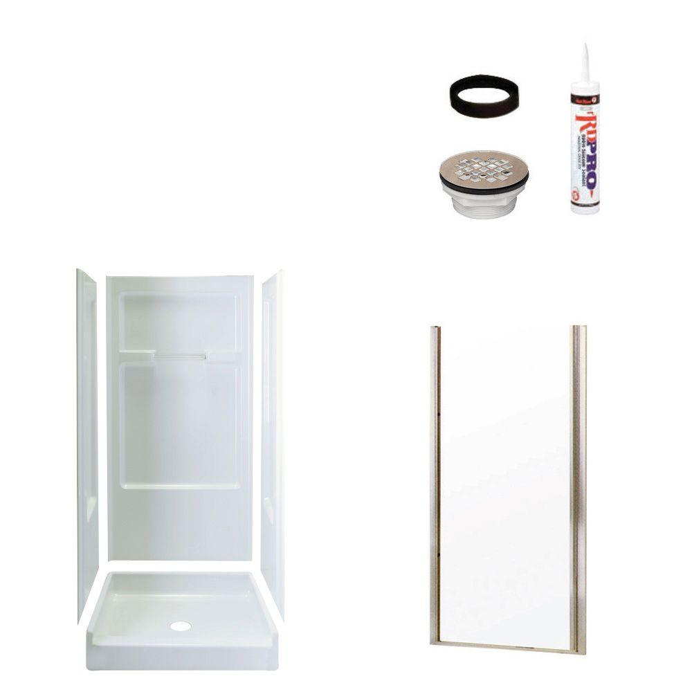 STERLING Advantage 34 in. x 36 in. x 72 in. Shower Kit with Shower Door in White/Nickel-DISCONTINUED