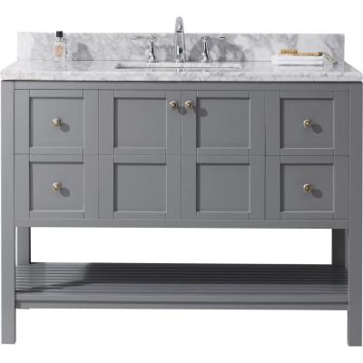 Virtu USA Winterfell 49 in. W Bath Vanity in Gray with Marble Vanity Top in White with Square Basin