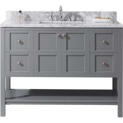 Winterfell 49 in. W Bath Vanity in Gray with Marble Vanity Top in White with Square Basin