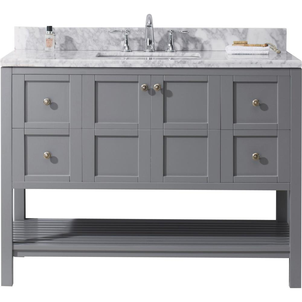Virtu USA Winterfell 49 In. W Bath Vanity In Gray With Marble Vanity Top In White With Square