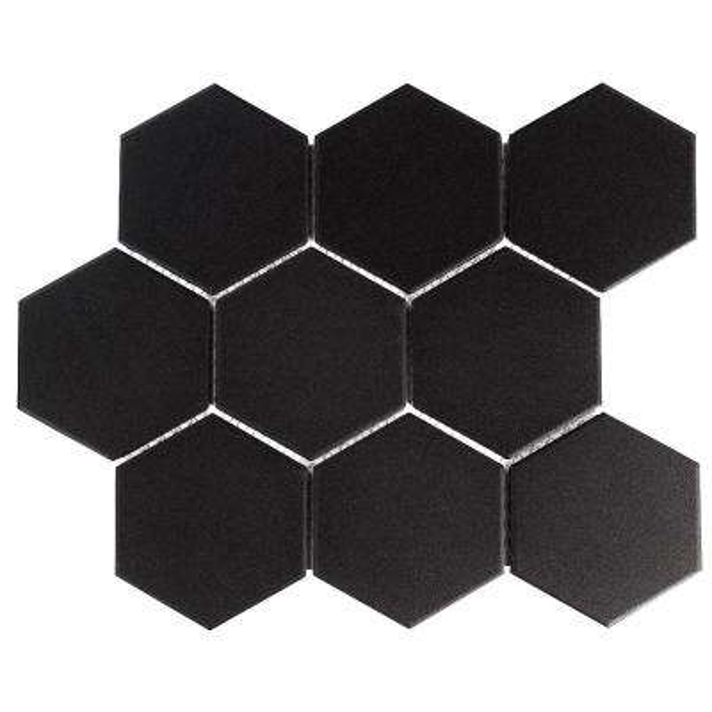 Gotham Super Hex Black 10 in. x 11-3/8 in. x 6 mm Unglazed Porcelain Mosaic Tile (8.09 sq. ft. / case)