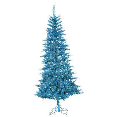 7.5 ft. Pre-Lit Teal Tuscany Tinsel Artificial Christmas Tree