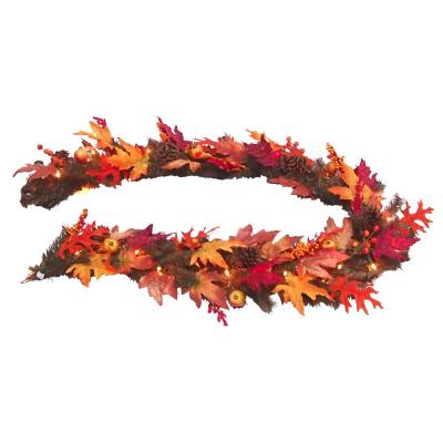6 in. Harvest Maple Garland with Berries, Cones, Guava and 35 Clear Lights
